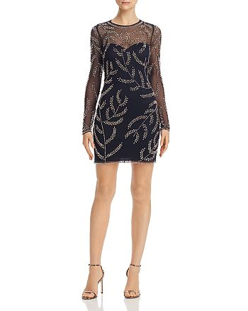 AQUA - Embellished Illusion Dress - 100% Exclusive