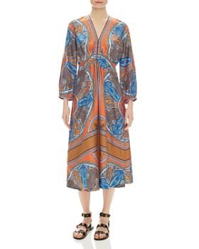 Sandro - Yanis Printed Silk Midi Dress