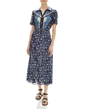 Sandro - Nour Mixed-Print Midi Dress
