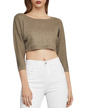 9e99d5652b602 BCBGMAXAZRIA - Metallic Rib-Knit Cropped Top BCBGMAXAZRIA - Metallic  Rib-Knit Cropped Top. Quick View