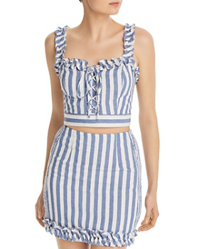 AQUA - Lace-Up Striped Cropped Top - 100% Exclusive