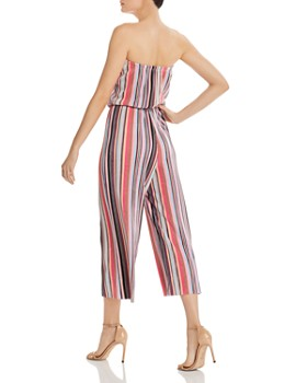 AQUA - Strapless Striped Plissé Jumpsuit - 100% Exclusive