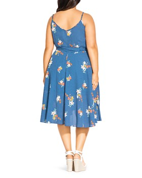 City Chic Plus - Sleeveless Dotted Floral Wrap Dress