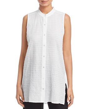 Eileen Fisher - Textured Sleeveless Button-Down Top