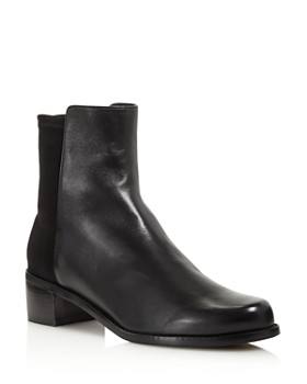Stuart Weitzman - Women's Easyon Reserve  Leather & Neoprene Block-Heel Booties