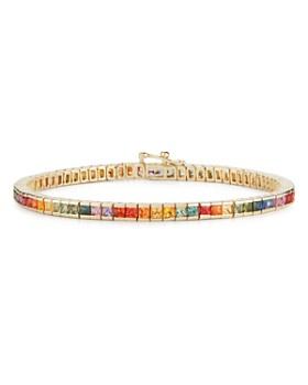 MATEO - 14K Yellow Gold Rainbow Sapphire Tennis Bracelet