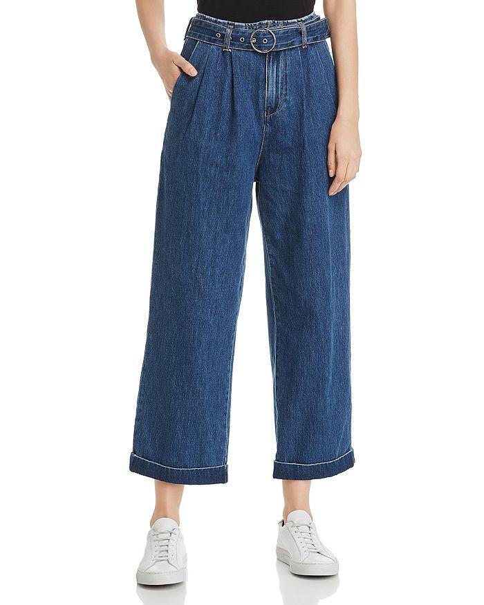 Vero Moda - Kristina High-Rise Cropped Wide-Leg Jeans in Medium Blue Denim