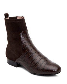 Taryn Rose - Women's Floriana Suede & Crocodile-Embossed Leather Booties