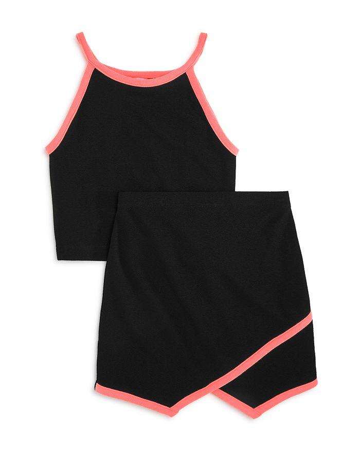 AQUA - Girls' Neon Trim Crop Top And Skirt, Big Kid - 100% Exclusive