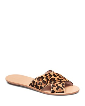 Loeffler Randall - Women's Claudie Leopard-Print Calf Hair Slide Sandals