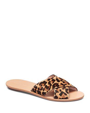 Loeffler Randall - Women's Claudie Leopard-Print Calf Hair Slide Sandals