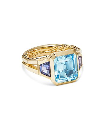 David Yurman - 18K Yellow Gold Novella Three-Stone Ring with Blue Topaz & Tanzanite