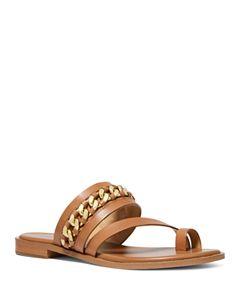 dca27af1280 MICHAEL Michael Kors Women's Lyra Leather Slide Sandals   Bloomingdale's
