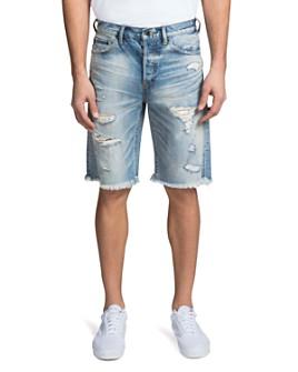 PRPS - Warsaw Shredded Regular Fit Denim Shorts in Light Blue