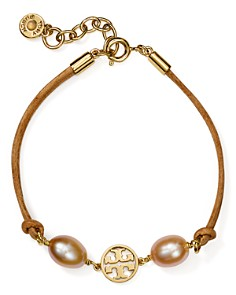 Tory Burch - Logo Cultured Freshwater Pearl Bracelet