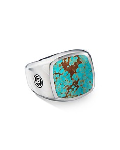 David Yurman - Sterling Silver Exotic Stone American Turquoise Signet Ring