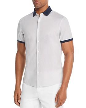 Michael Kors - Short-Sleeve Contrast-Trimmed Dot-Print Slim Fit Shirt