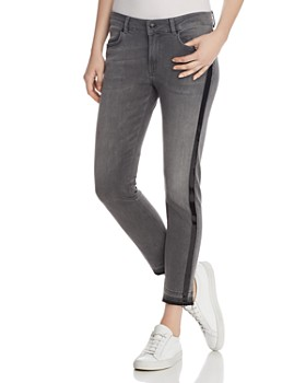 Escada Sport - Patent-Stripe Cropped Jeans in Vapour
