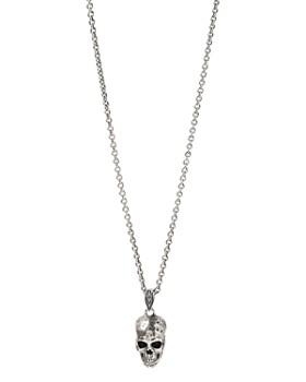"John Varvatos Collection - Sterling Silver Artisan Metals Skull Pendant Necklace, 24"""