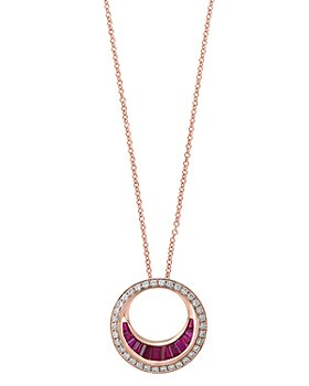 """Bloomingdale's - Ruby & Diamond Circle Pendant Necklace in 14K Rose Gold, 18"""" - 100% Exclusive"""