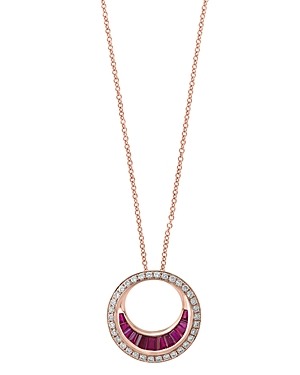 Bloomingdale's Ruby & Diamond Circle Pendant Necklace in 14K Rose Gold, 18 - 100% Exclusive