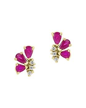 Bloomingdale's - Pear-Shaped Ruby & Diamond Earrings in 14K Yellow Gold - 100% Exclusive