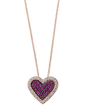 "Bloomingdale's - Certified Ruby & Diamond Heart Pendant Necklace in 14K Rose Gold, 18"" - 100% Exclusive"
