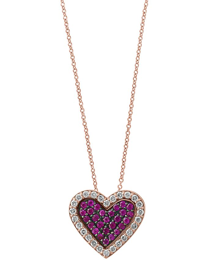 """Bloomingdale's - Certified Ruby & Diamond Heart Pendant Necklace in 14K Rose Gold, 18"""" - 100% Exclusive"""