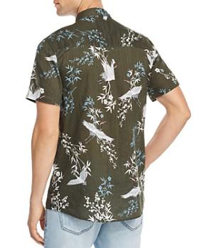 Zee Gee Why Denim - Ziggy Zee Party Short-Sleeve Crane-Print Slim Fit Shirt