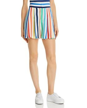 4a28fcd6e51 Alice and Olivia - Scarlet Pleated Rainbow-Stripe Shorts ...