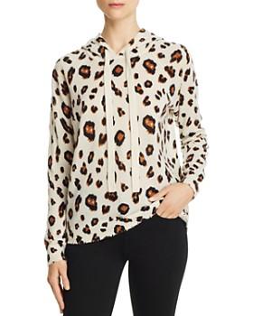 4ffcc698805 Minnie Rose - Leopard Print Cashmere Hooded Sweatshirt ...