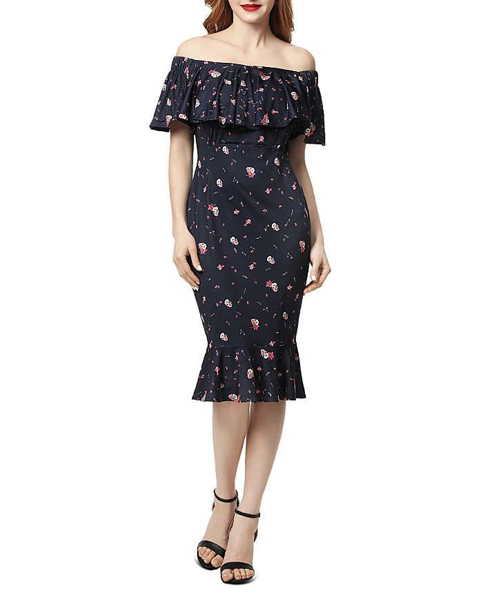 Kimi & Kai - Flora Printed Off-the-Shoulder Maternity Dress