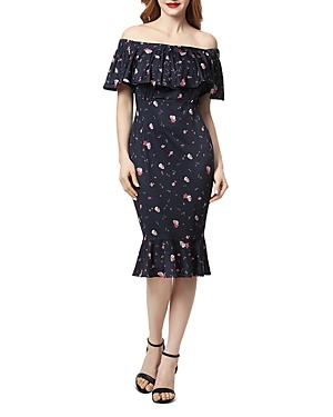 Kimi & Kai Flora Printed Off-the-Shoulder Maternity Dress
