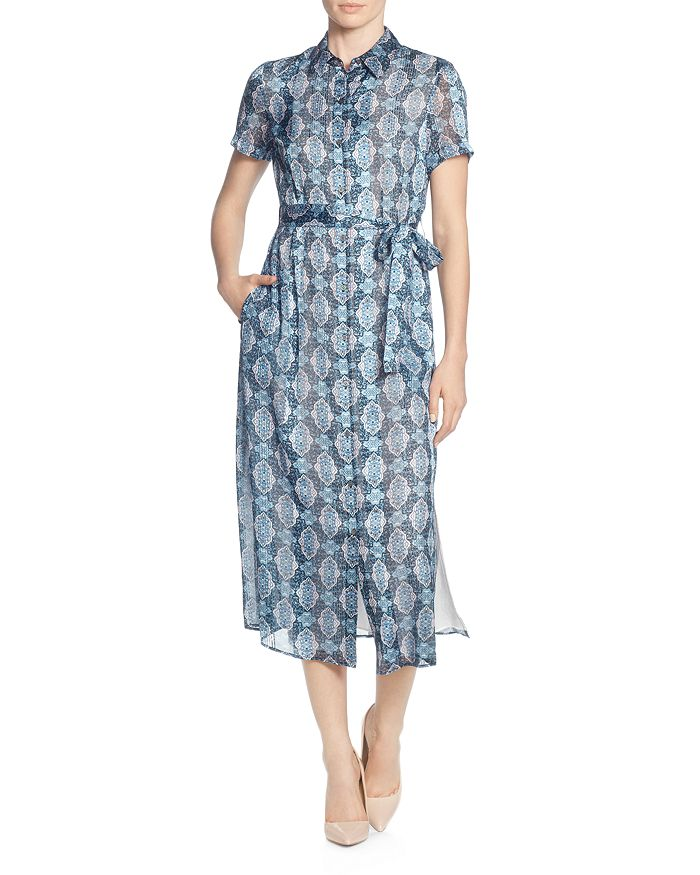 T Tahari - Printed Short-Sleeve Shirt Dress