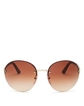 Prada - Women's Oversized Rimless Round Sunglasses, 61mm