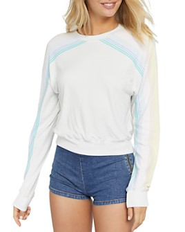 Spiritual Gangster - Malibu Striped-Sleeve Cropped Sweatshirt