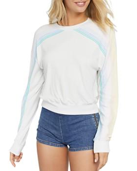Spiritual Gangster - Malibu Striped-Sleeve Cropped Sweatshirt