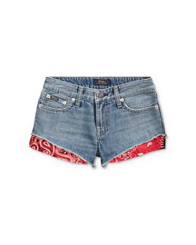 Ralph Lauren - Girls' Bandana-Trim Denim Shorts - Big Kid