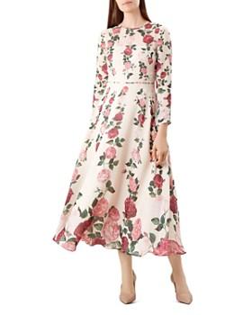 HOBBS LONDON - Victoria Rose Print Silk Midi Dress
