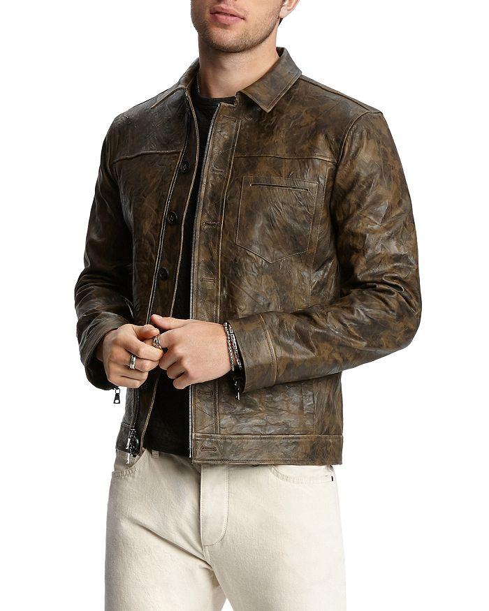 John Varvatos Collection - Camouflage-Print Leather Jacket