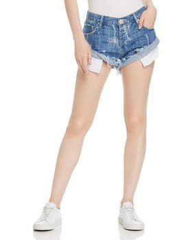 One Teaspoon - Bandits Malibu Palm Print Denim Shorts in Ocean