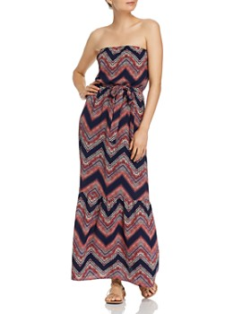 AQUA - Chevron Strapless Maxi Dress - 100% Exclusive
