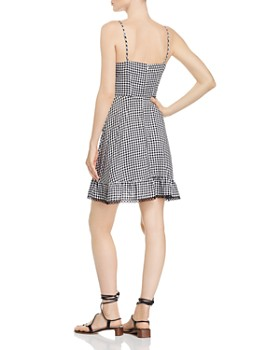 BB DAKOTA - Ruffled Gingham Faux-Wrap Dress