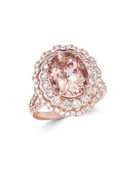 Bloomingdale's - Oval Morganite & Diamond Statement Ring in 14K Rose Gold - 100% Exclusive