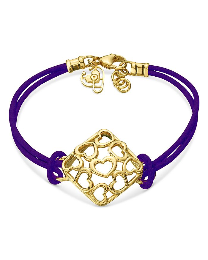 Gumuchian - 18K Yellow Gold Tiny Hearts Leather Cord Bracelet