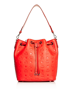 Mcm Essential Embossed Leather Bucket Bag