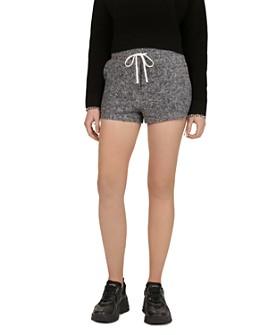 The Kooples - Lace-Up Detail Fleece Mini Shorts
