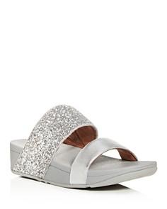 FitFlop - Women's Rose Glitter Platform Wedge Slide Sandals