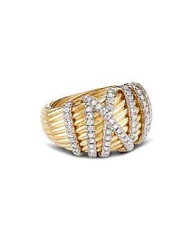 David Yurman - 18K Yellow Gold Helena Dome Ring with Diamonds