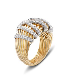 David Yurman - 18K Yellow Gold Helena Dome Ring with Diamonds